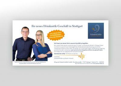 Anzeigengestaltung für Hörgeräte Schmidt & Keller GmbH in Stuttgart