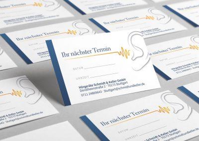 Terminkarten für Hörgeräte Schmidt & Keller GmbH in Stuttgart