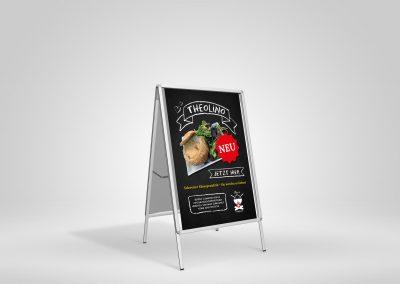 Plakatgestaltung für Kundenstopper für Theo's Waldfondue in Leipzig