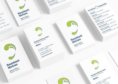 Visitenkarten für die Baumbach HörCom GmbH